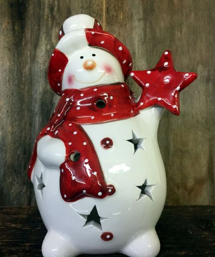 Red & White Large Fat Ceramic Snowman Christmas Tea Light Holder